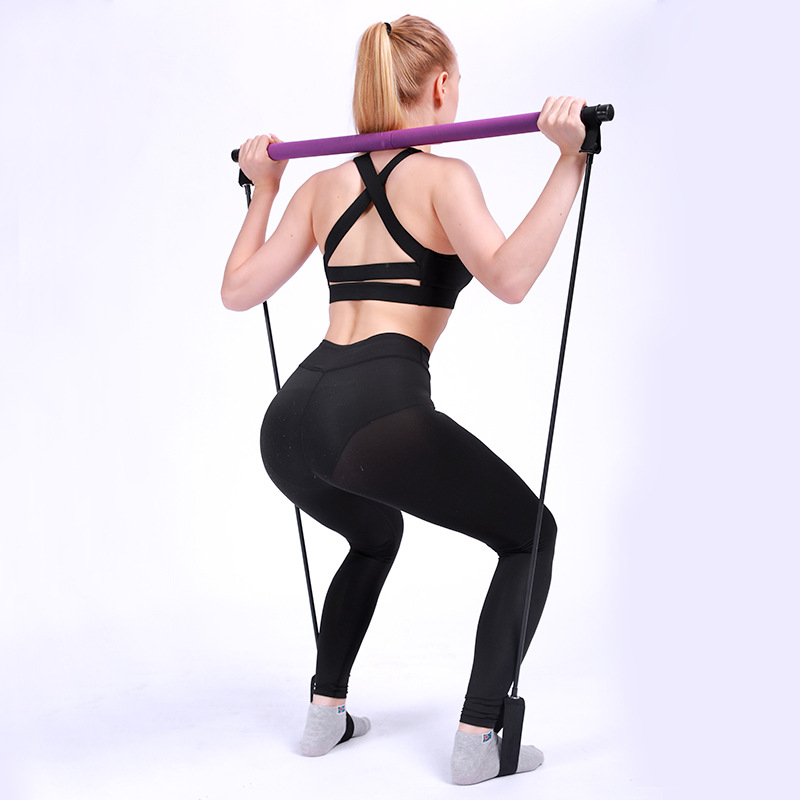 Portable Pilates Bar Kit Resistance Band Yoga Exercise Foot Loop Toning Bar Yoga Pilates For Yoga Stretch Twisting Sit-Up Bar