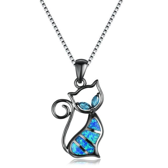Collar bohemio bonito con palo blanco y azul para mujer collar plateado con Gato Negro colgantes