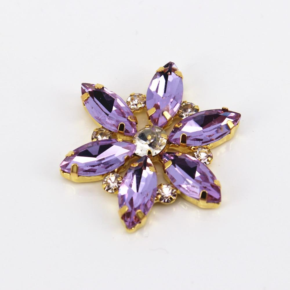 3.5x3.5cm 1 Pcs Gold Base Clear Purple Crystal Sewing On Flower Rhinestone Applique DIY Wedding Evening Dress For Women
