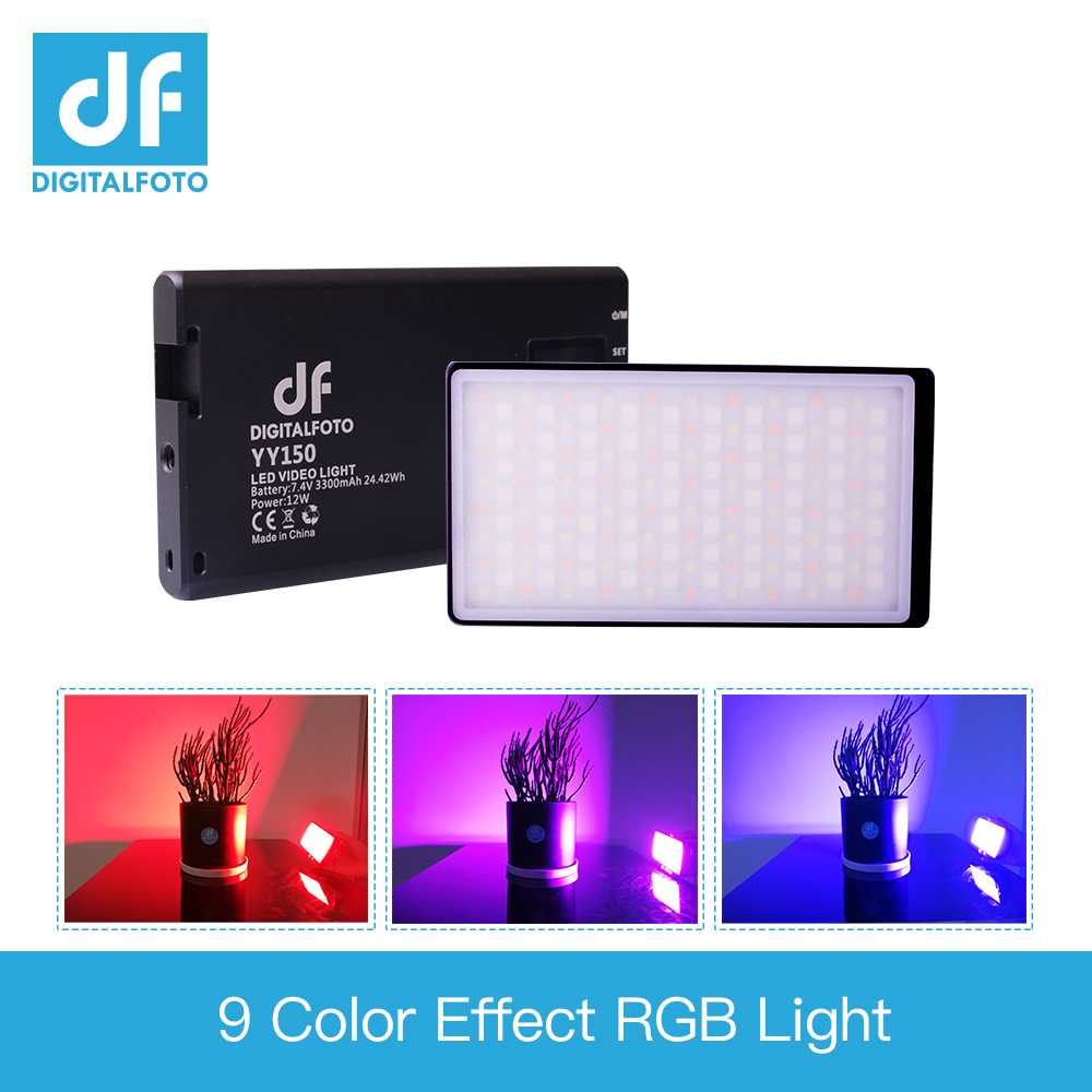 DF YY150 RGB LED 12W 2500K-8500K Dimmable CCT-color ultra Thin Panel light for vlogging video DSLR YouTube photo studio light image
