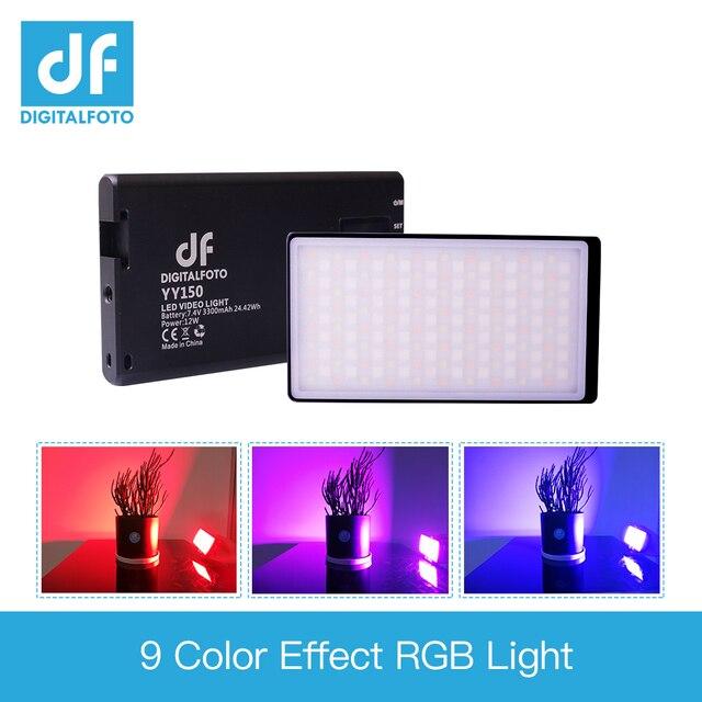 DF YY150 RGB LED 12W 2500K 8500K Dimmable CCT צבע אולטרה דק פנל אור עבור vlogging וידאו DSLR YouTube תמונה סטודיו אור
