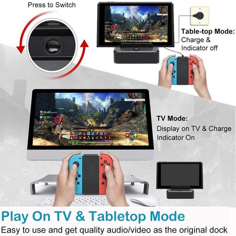 Soporte de carga portátil HDMI adaptador estación de acoplamiento con puerto USB 3,0 cargador de reemplazo Dock para Nintendo Switch