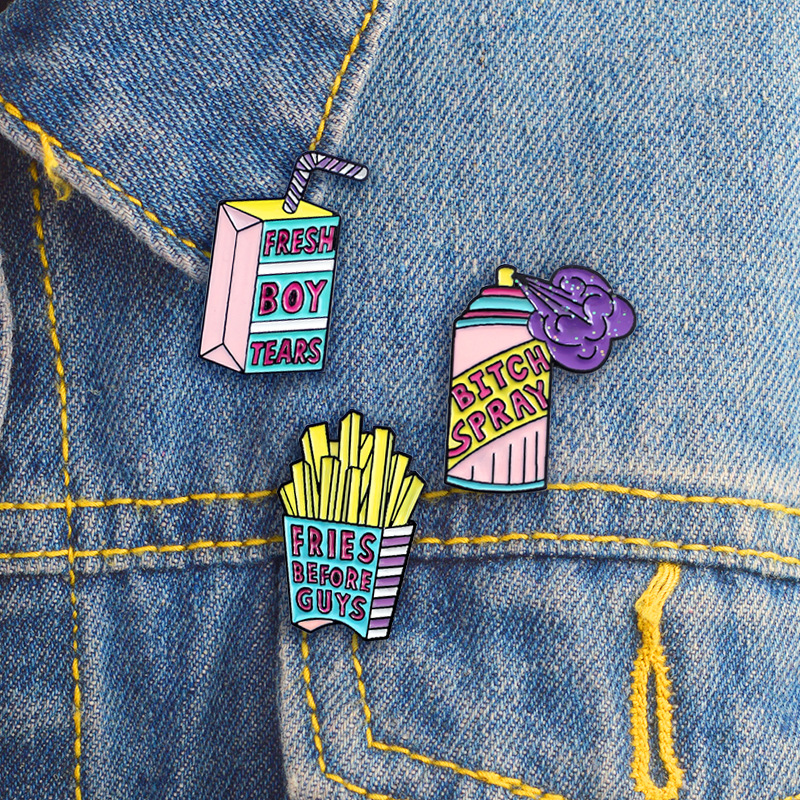 Cartoon drink Chic Spray Enamel pin Brooch Jacket Lapel Pin Coat badge Fashion Collar Badge Icon Button Jewelry in Pins Badges from Home Garden