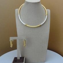 Yuminglai איטלקי זהב 24K דובאי תלבושות תכשיטי סטי שרשרת ועגילים FHK6843