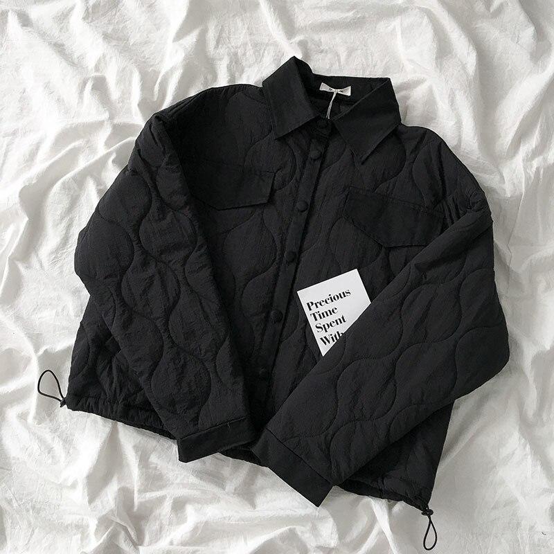 Vintage Spring Loose Coat Women Casual Turn-down Collar Black Coffee Long Sleeve Jacket Female Harajuku Straight Tops