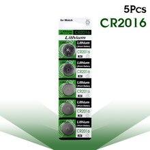 5 pces/1 cartão cr2016 botão baterias lm2016 br2016 dl2016 pilha moeda bateria de lítio 3v cr 2016 para assistir brinquedo eletrônico remoto