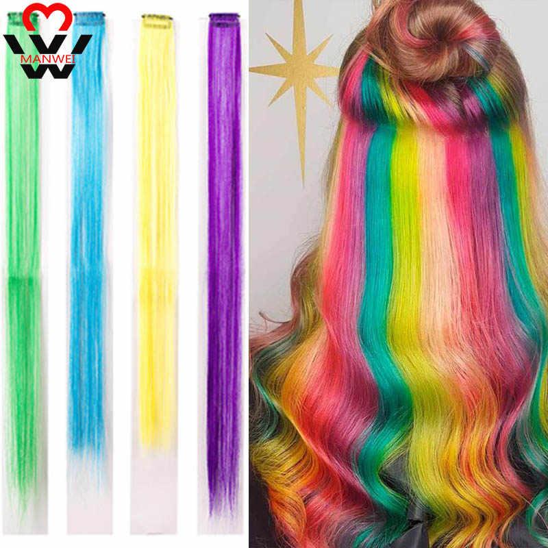 MANWEI 68 renkler klip tek parça saç ekleme sentetik Ombre pembe kırmızı mavi saç kadınlar için kız çocuklar klip