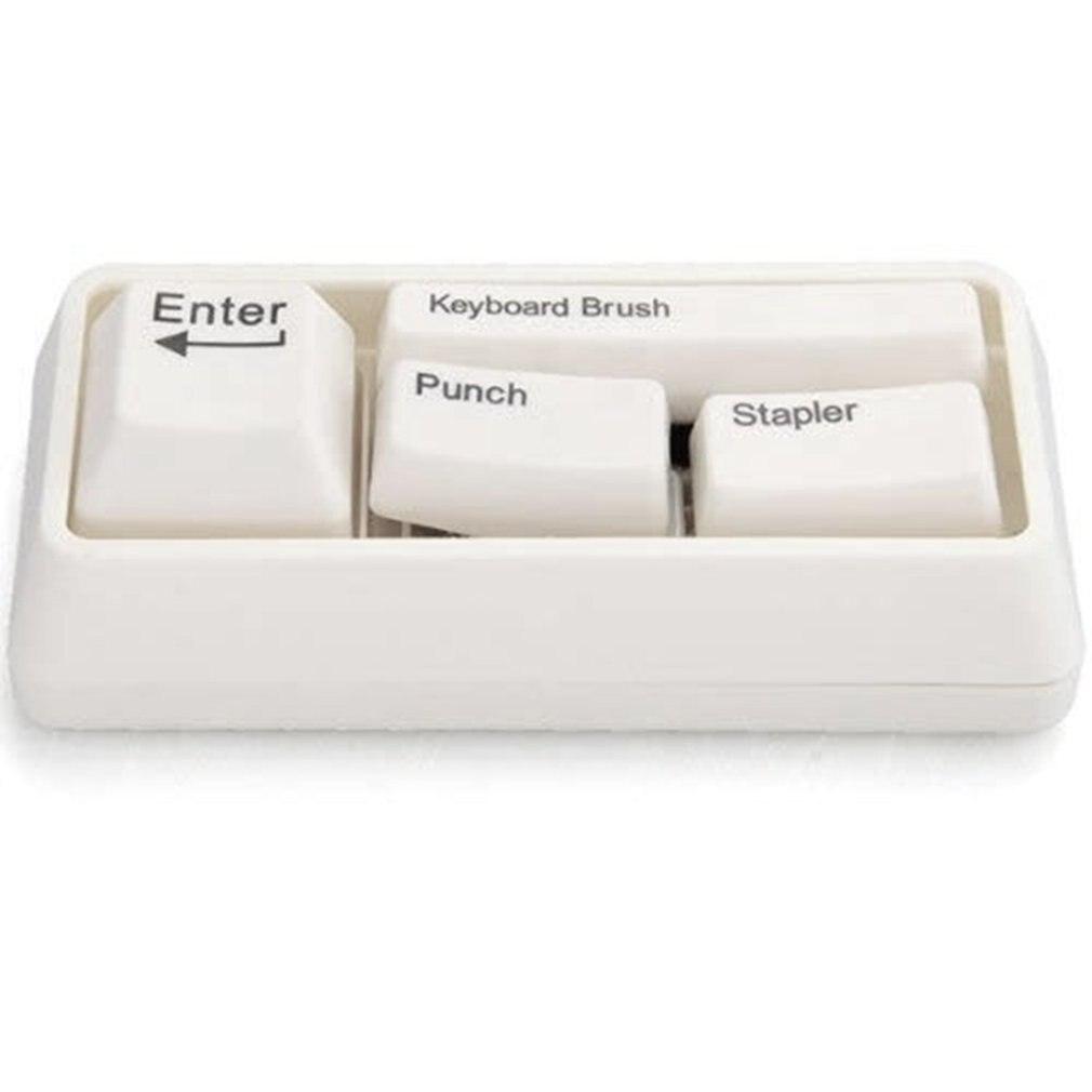 Япония и Южная Корея канцелярские принадлежности Форма зажим для бумаги магнит+ удар+ степлер+ клавиатура щетка канцелярские товары офисные школьные принадлежности - Цвет: White