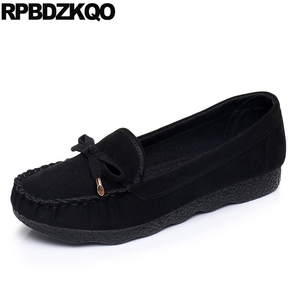 Image 1 - designer 2019 chinese black cheap suede round toe bow ladies beautiful flats shoes slip on old peking cloth china red women gray