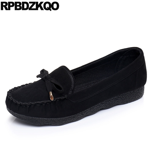 designer 2019 chinese black cheap suede round toe bow ladies beautiful flats shoes slip on old peking cloth china red women gray