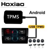 USB 안 드 로이드 TPMS 타이어 압력 모니터링 시스템 디스플레이 알람 시스템 5V 내부 센서 안 드 로이드 탐색 자동차 라디오 4 센서