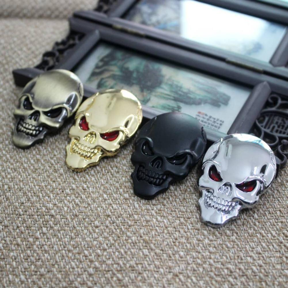 OLPAY Motorcycle Car Universal 3D Chrome Emblem Badge Sticker Skull Decals Frame Body Decoration Sticker Decal For Harley Yamaha