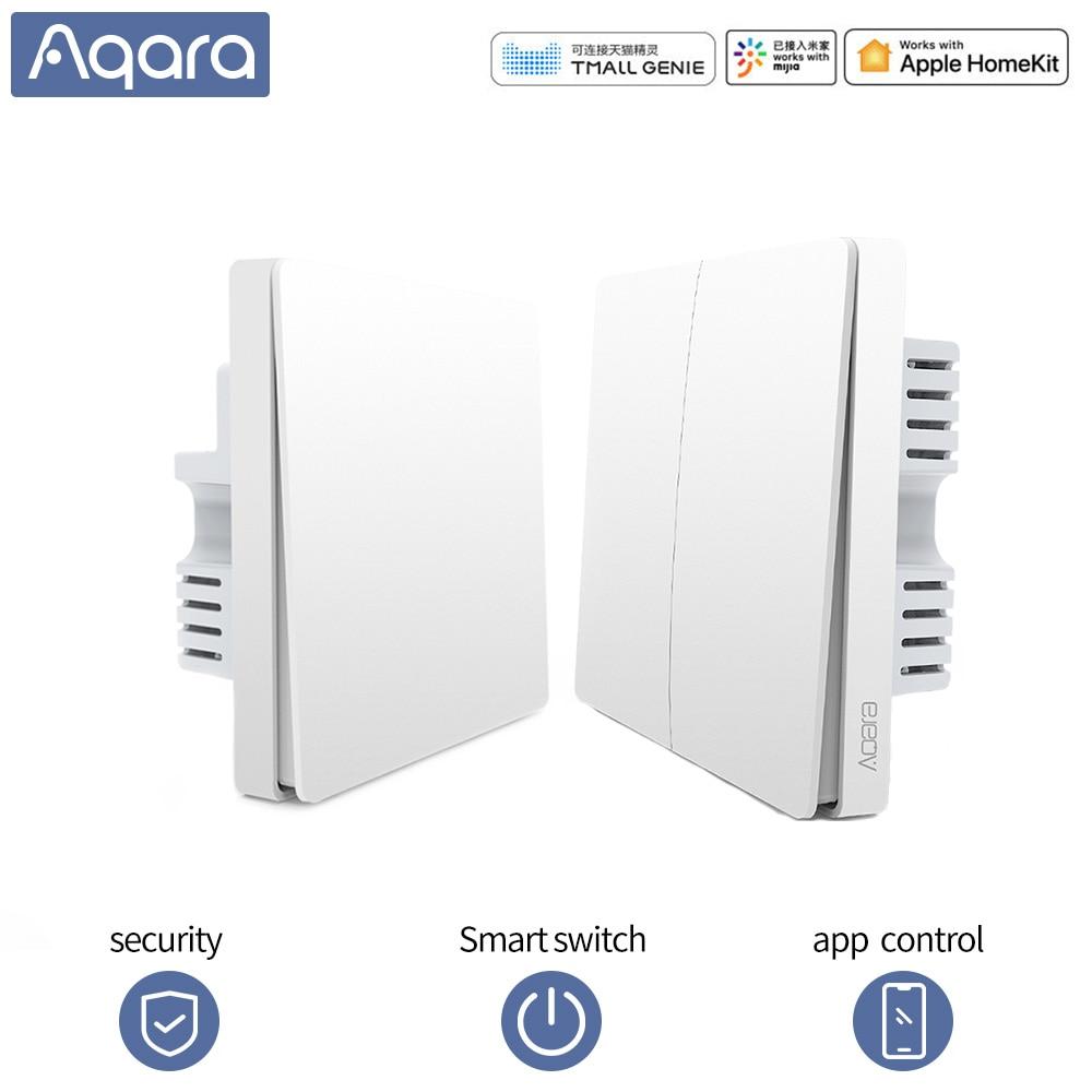Aqara-interrupteur lumineux mural intelligent | Commutateur WIFI, commande APP Zigbee, commutateur clé fil naturel, fil vivant, pour maison intelligente