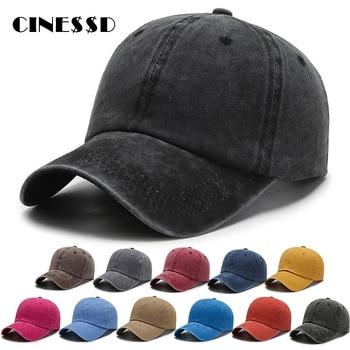 2020 Unisex Cap Plain Color Washed Cotton Baseball Cap Men & Women Casual Adjustable Outdoor Trucker Snapback Hats Dropshipping