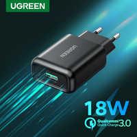 UGREEN-cargador USB de pared para móvil, cargador rápido QC3.0 de 18W, carga rápida QC 3,0, para Samsung s10, Xiaomi, iPhone, Huawei