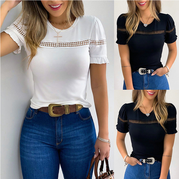 2020 Women Summer Tops Round Neck  Hollow Out Butterfly Sleeve Womens Tops and Blouse Balck White  Women Blouse red round neck flared sleeves blouse