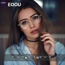 Женские круглые очки eoou с оправой и линзами по рецепту степени