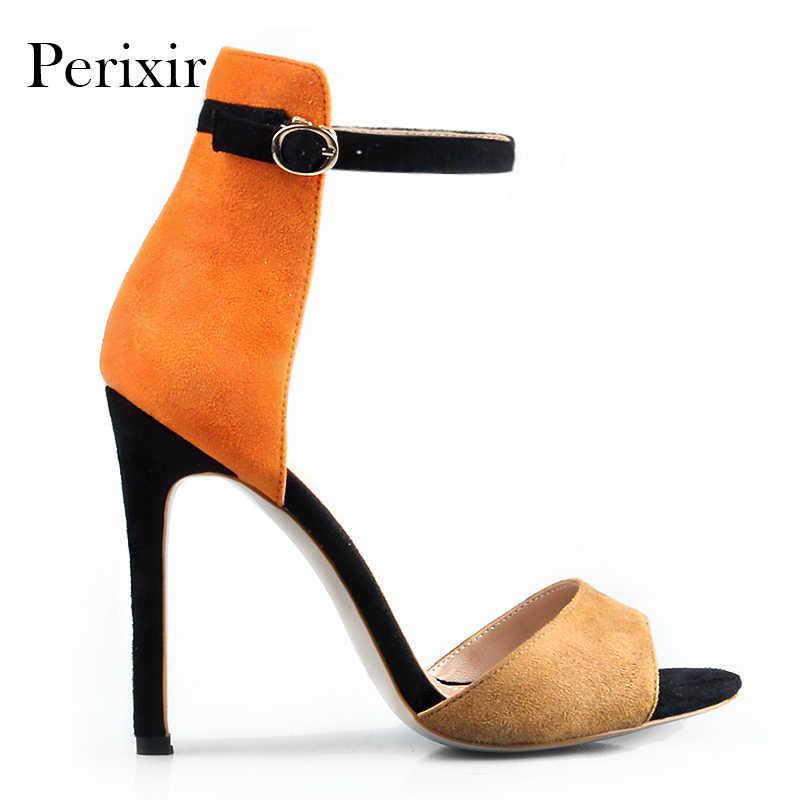 In Stock! Perixir 2019 ผู้หญิง Peep Toe ส้นสูงรองเท้าแตะฤดูร้อนสีฟ้า Patchwork เซ็กซี่ Lady OL