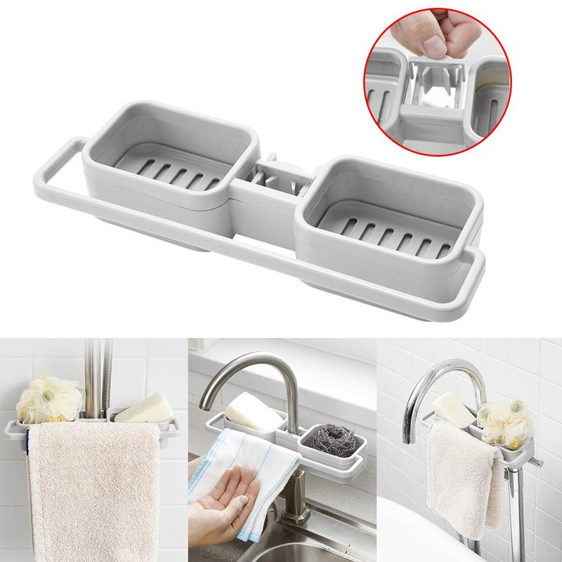 Kitchen Sink Faucet Sponge Soap Storage