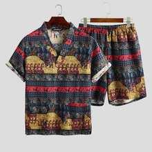 2020 Summer Men Printed Pajamas Sets Loose Short Sleeve V Ne