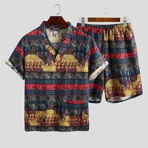 2020 letnie męskie piżamy z nadrukiem zestawy luźna krótka koszulka z dekoltem w serek szorty bawełniane piżamy Kimono Unisex garnitury S-5XL