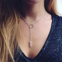 цены на Natural Stone Crystal Pink Quartz Hexagon Pendant Necklaces Women Bullet Shaped Silver Link Chain Necklaces Jewelry Gifts в интернет-магазинах