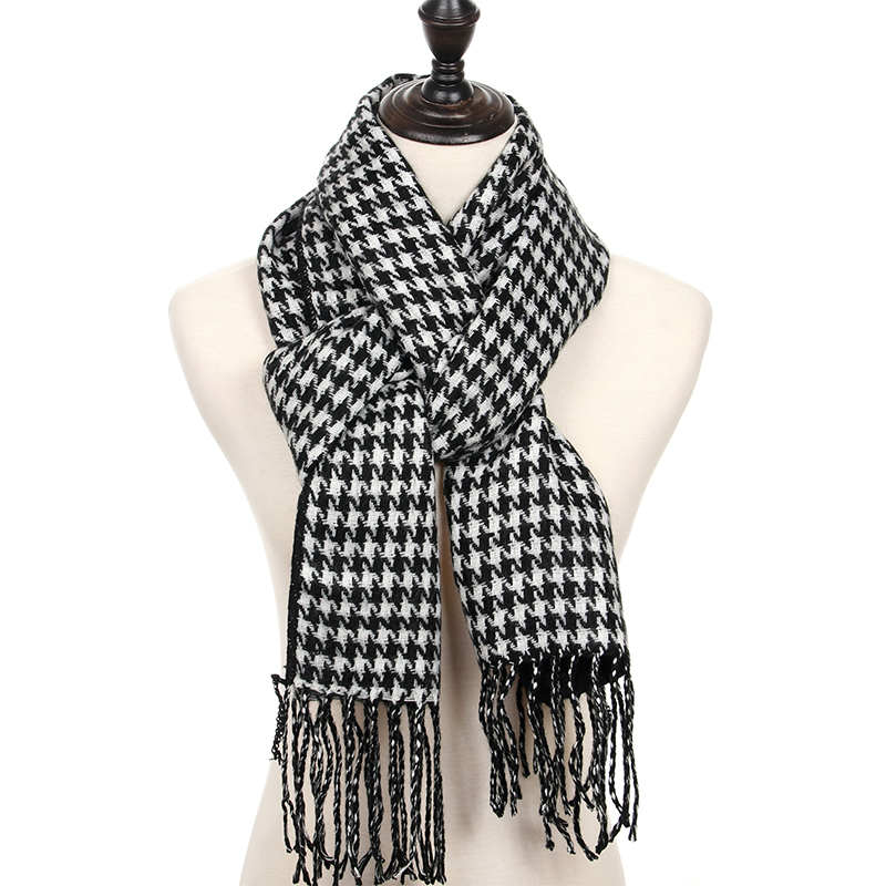 Houndstooth Scarf Man Woman Winter Female Bandage Plaid Men's Women's Winter Scarves Cashmere Scarfs