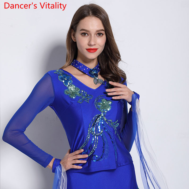 Modern Dance Wear Adult Women V Neck Stretch Sequin Long Sleeve Top Ballroom National Standard Waltz Jazz Dancing Practice Cloth
