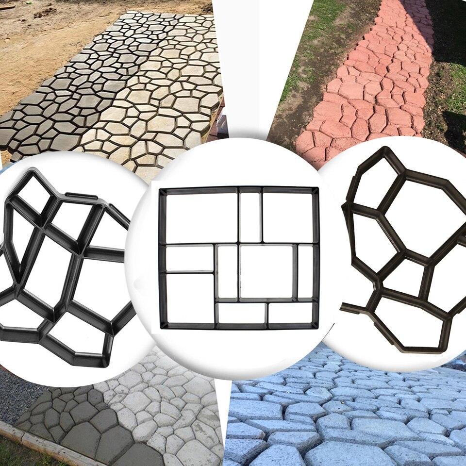 DIY Garden Plastic Path Maker Mould Stone Walking Road Mold Paving Cement   US