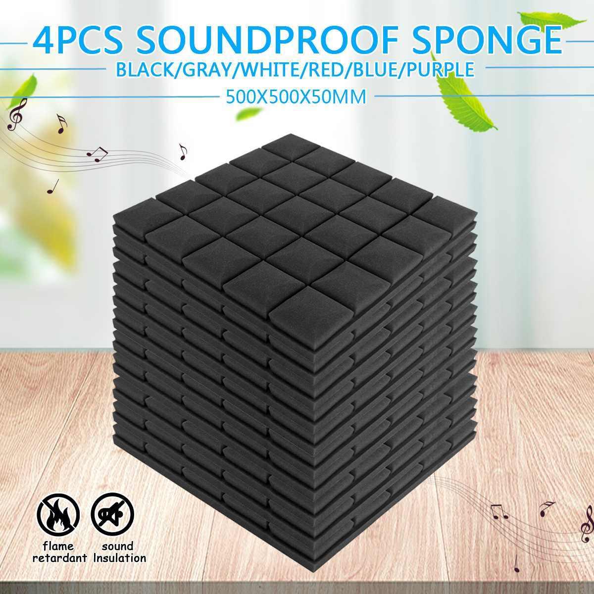 4 pièces 50x50x5cm Studio acoustique insonorisé mousse Absorption acoustique traitement panneau tuile coin éponge de protection