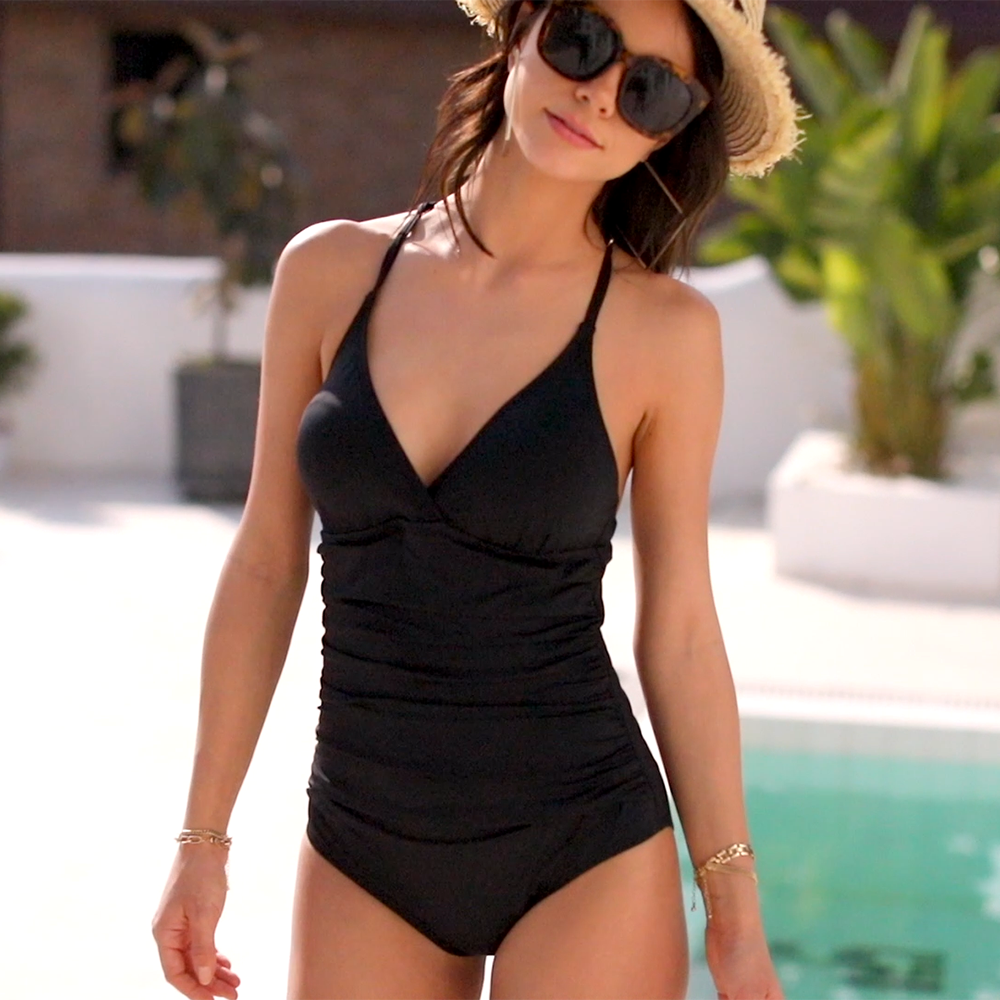 Hilor Womens Shirred Halter One Piece Swimsuits Macrame Back Swimwear Tummy Control Bathing Suit