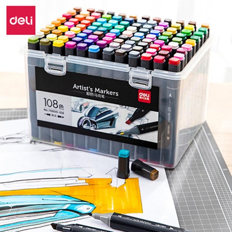 Deli Dual-Headed Mark Pen 48/60 Colors Hand-Painted Design Set 70800 Students Graffiti Color Alcohol Solvent Ink