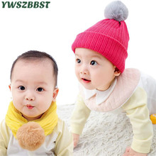 New Winter Baby Hat Fashion Knitted with Pompom ball Autumn Warm Caps Collar Scarf Dual-use