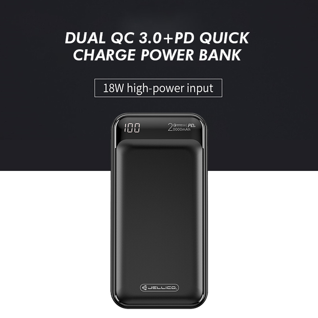 Jellico Power Bank 20000mAh LED Portable Battery Power Bank PD Fast Quick Charge 12V Powerbank for iPhone Xiaomi mi Power Bank