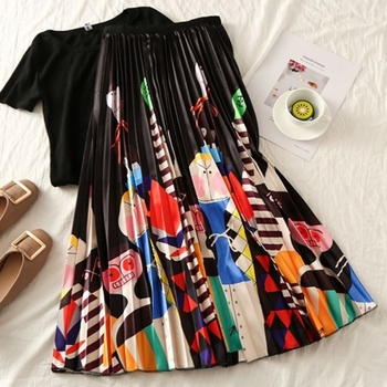 Summer Women Long Pleated Skirt Plus Size Cartoon Print White Black Pleated Skirt Elastic Casual High Waist Skirt.w 3