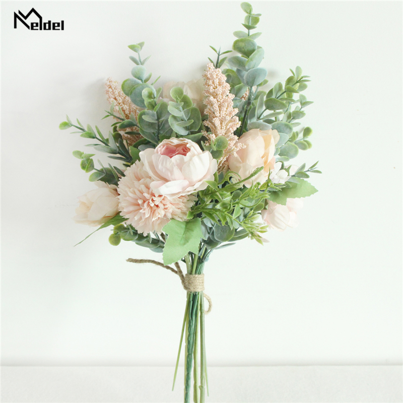 Meldel Forest Style Flower Bouquet Artificial Silk Peony Lucky Ball Flower Home Wedding Decoration Bride Bouquet Eucalyptus Leaf