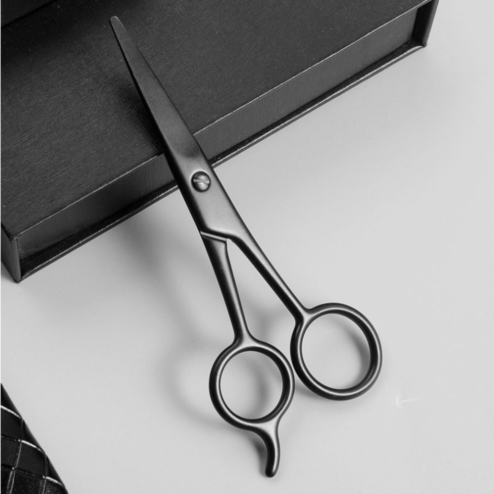 Stainless Steel Beard Small Nose Hair Scissor For Shaving Shear Beard Trimmer Eyebrow Men Mustache Scissor Set With Storage Bag