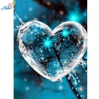 Nabi-Cuadro de corazón de agua elaborado con diamantes de imitación, bordado, punto de cruz, decoración para el hogar sin terminar