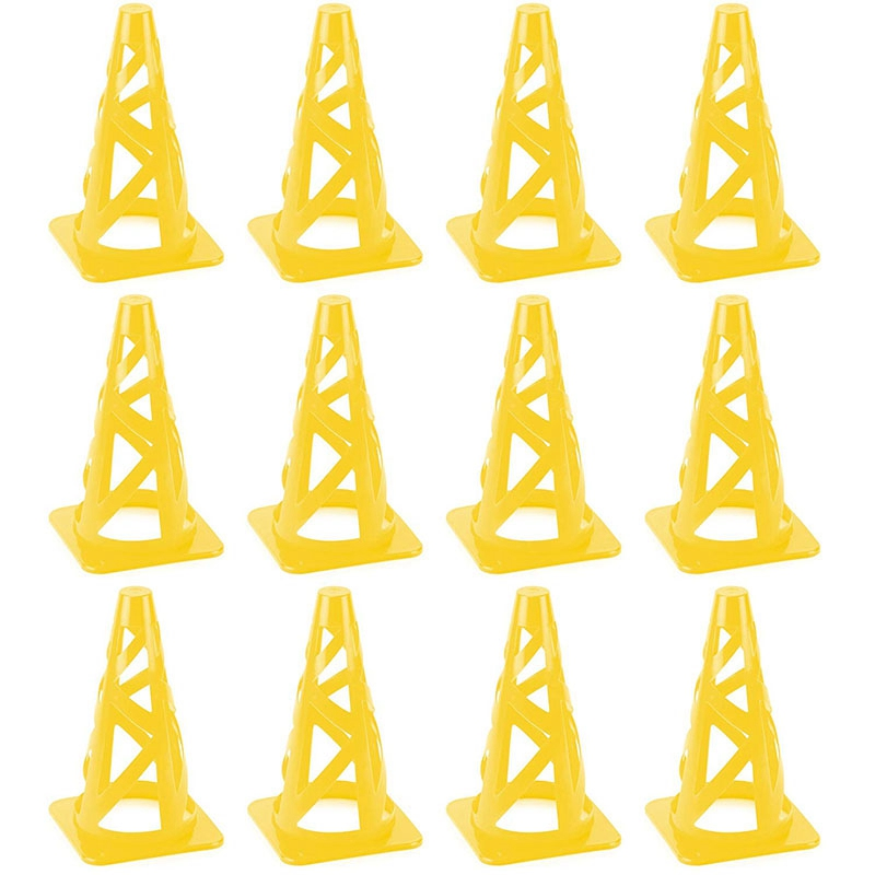 Yellow 9 Inch Foldable High Hat SPORT Cone Marker For Indoor Outdoor Agility Training Improve Athletic Ability