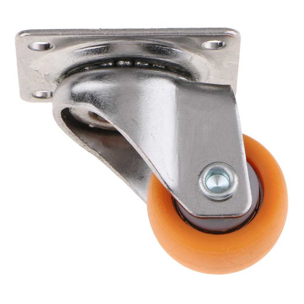 Orange Nylon All Swivel Caster Wheels Plate Castor for Trolleys 25mm, 13kg, 8pcs Set