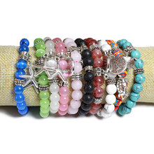 Natural Stone Designer Charms Bracelets Alloy Buddha Tortoise Lotus Tree Starfish 8MM Round Beads Fashion Jewelry For Women