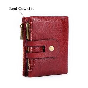 Image 4 - 100% gerçek hakiki deri cüzdan Vintage erkekler kadınlar küçük Trifoldl cüzdan bayanlar para çantası kısa çantalar sikke cep Vallet kırmızı