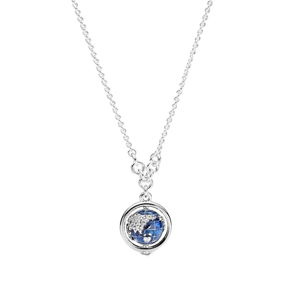925 Sterling Silver 2020 New Winter Spinning Globe Necklace For Women Brand Original Necklace Jewelry Gift