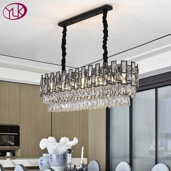 Modern Rectangle Black Crystal Chandelier For Dining/Living Room Kitchen Island LED Light Fixtures Luxury Indoor Lighting