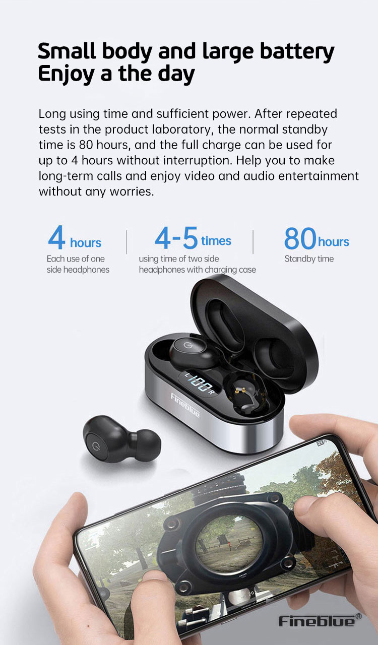 ASTROSOAR - Fineblue Air55 Pro TWS Earphones Bluetooth 5.0 LED Display True Wireless Earbuds with Charging Box