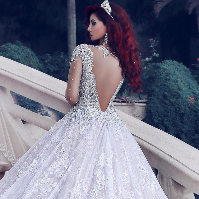 2021 Luxury Beading Long Sleeve Muslim Wedding Gowns With Long Train Sequined Lace Wedding Dresses Turke Robe De Mariage 3