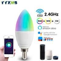 YYXMB LED lámpara inteligente WiFi bombilla compatible con Amazon ECHO/Google Home/IFTTT Control remoto de voz inteligente RGB + WW + CW bombilla Led