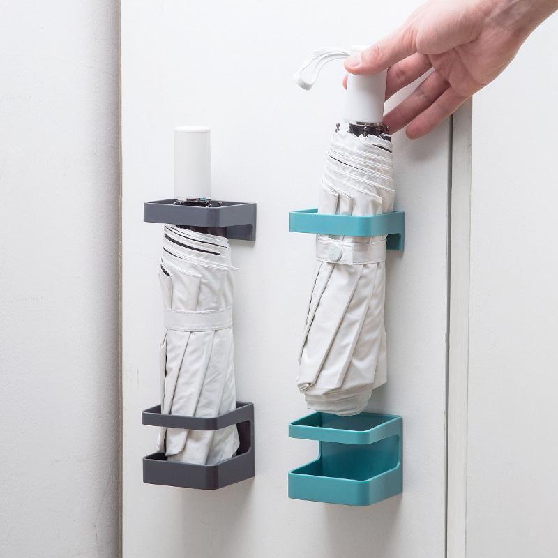 Umbrella Storage Rack Holder Shelf Self Adhesive Hanger Wall Mounted Broom Mop Holder Umbrella Stands Rain Gear Sticky Hook E097