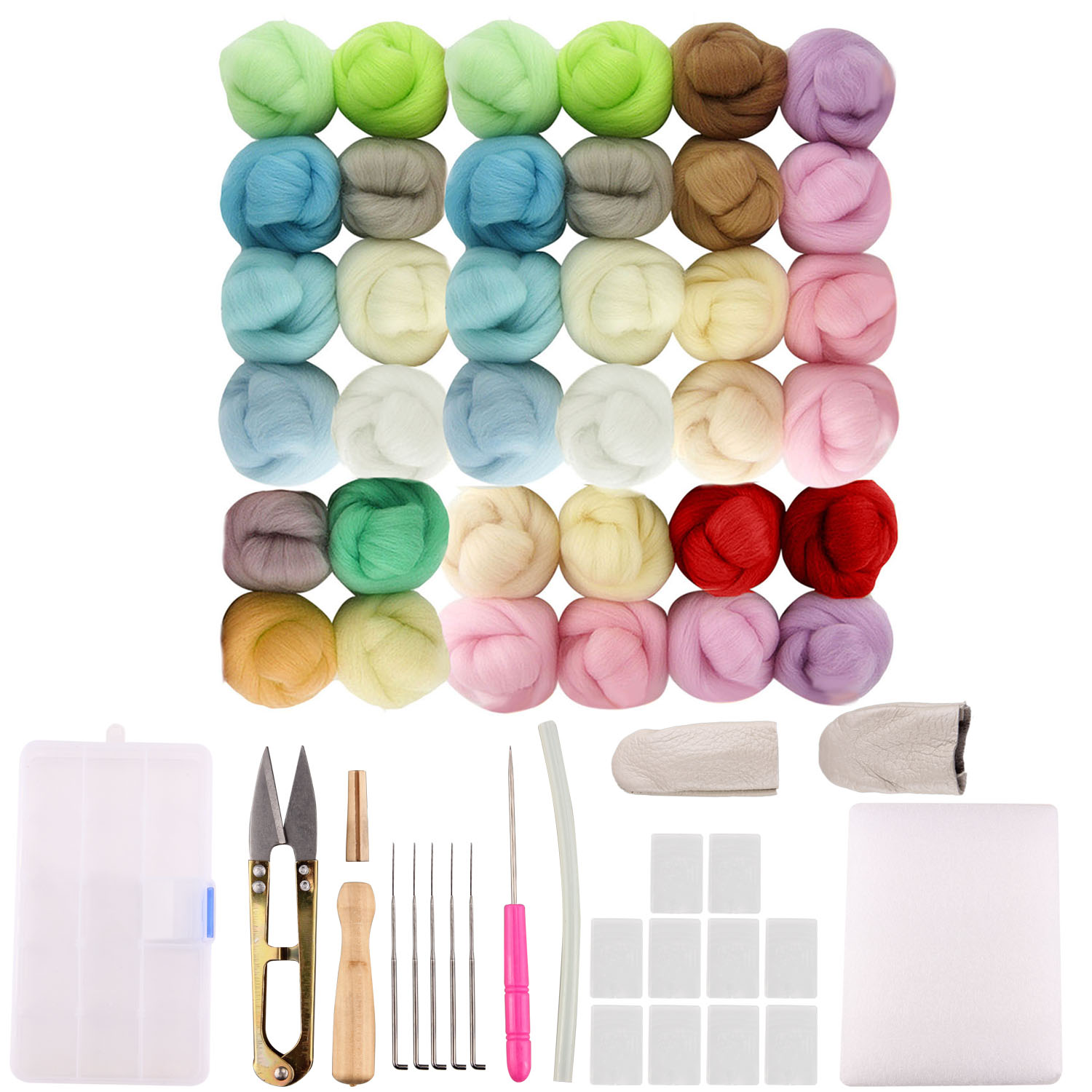 36 Color Wool Needle Felting Tools Kit For Kids Adults DIY Craft Doll Jewelry Making Spinning Weaving Fabric Materials Handcraft