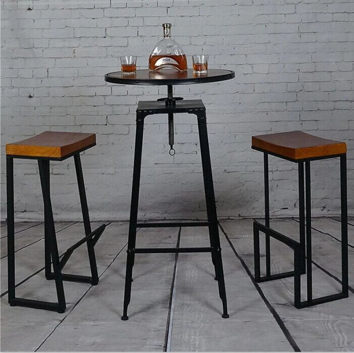 Retro Bar Chair Wrought Iron Bar Stool Solid Wood Bar Stool Creative High Stool Leisure Bar Chair Front Coffee Chair